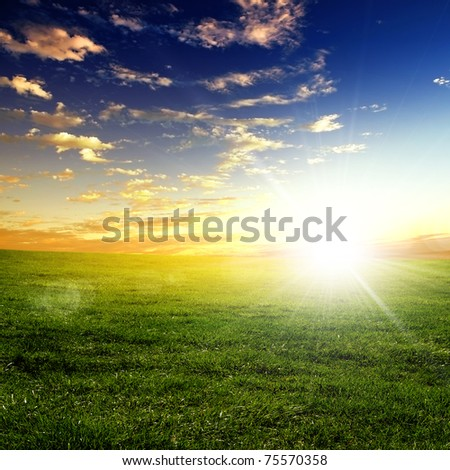 nature landscape and sunset on the background - stock photo