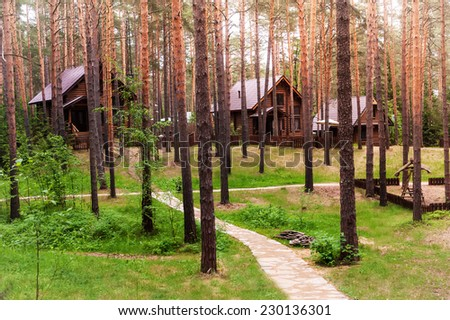 Nature landscape in the forest with some houses in the background - stock photo