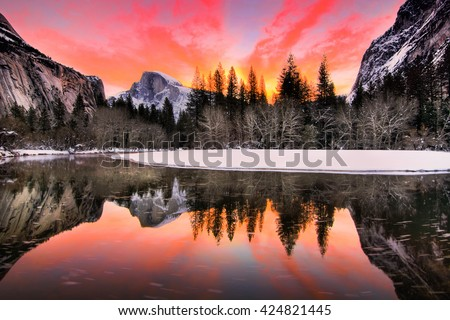 Nature Landscape of Yosemite National Park, California, USA.Yosemite National Park is in Sierra Nevada Area.In this landscape picture, you can see Half Dome, reflection, sunrise, and colorful sky - stock photo