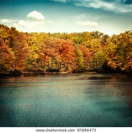 Nature landscape with beautiful lake in autumn with colorful trees and blue sky with cloudscape in the background. - stock photo