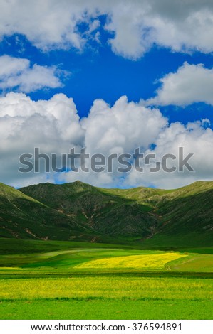 Nature landscape with cumulus clouds, Armenia - stock photo