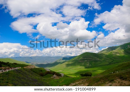 Nature landscape with heavenly sky - stock photo