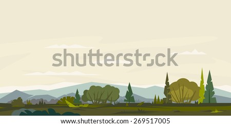 Nature landscape with hills and mountains, bushes with trees and spruces, ground with grass, sample geometric shapes, game background, panorama - stock photo