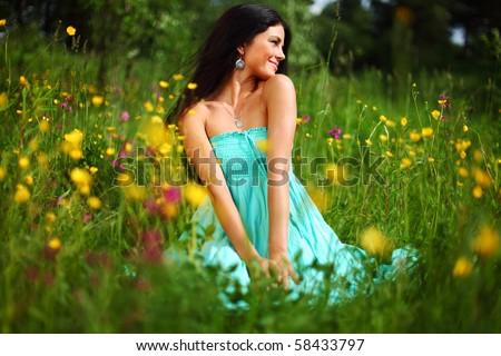 nature love woman - stock photo