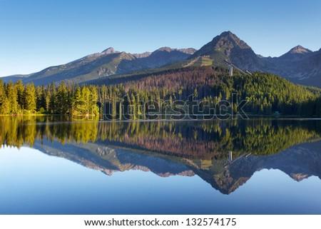 Nature mountain scene with beautiful lake in Slovakia Tatra - Strbske pleso - stock photo