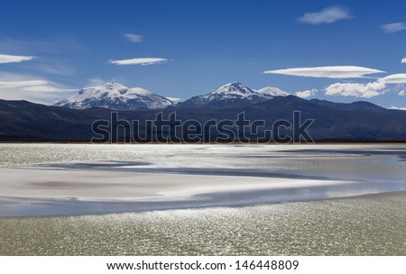 Nature of Bolivia. Boundless white saline soils and mountain plateaus. Fine lagoons with a set of a flamingo and volcanoes covered with snow. Sand and semi-deserts with numerous mirages. - stock photo