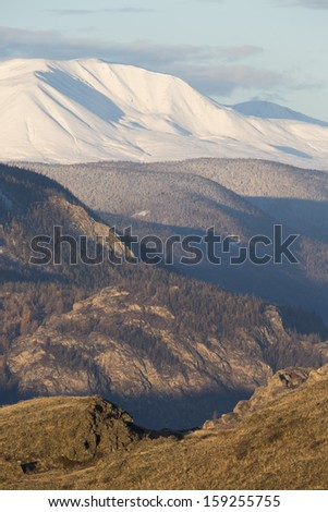 Nature of Mountain Altai. Late fall in mountains and on plains.