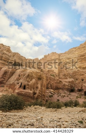 Nature of Petra, Jordan. Petra is one the New Seven Wonders of the World. The city of Petra was lost for over 1000 years.  - stock photo