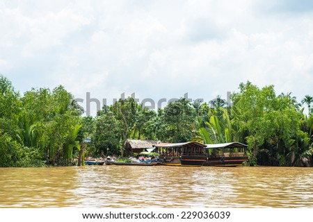 Nature of the Mekong river in Southern Vietnam. - stock photo