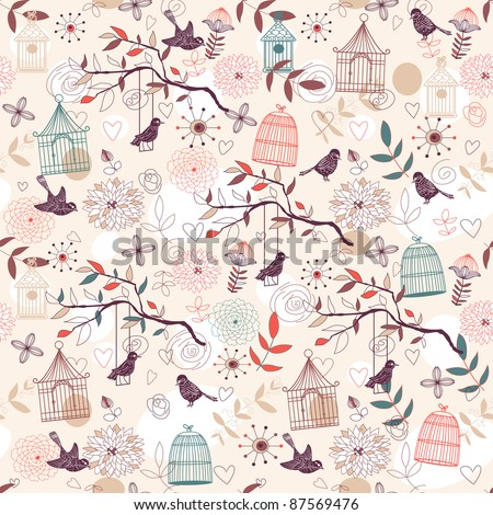 Nature Pattern with birds, birdcages, plants, flowers. - stock photo