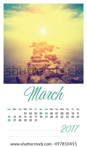 Nature photo calendar with beautiful minimalist landscape 2017. March