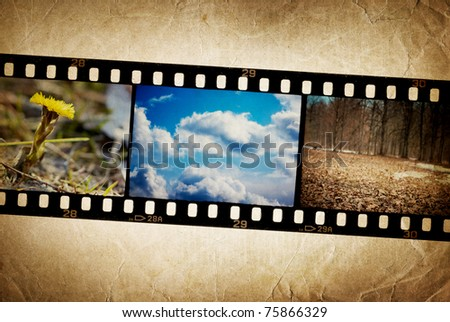 Nature photo with film strip on vintage background. - stock photo