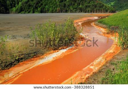 Nature pollution of a copper mine exploitation - stock photo