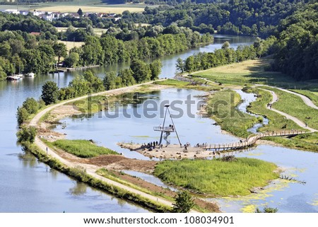 Nature reserve on the river Neckar, Stuttgart (Poppenweiler) - stock photo