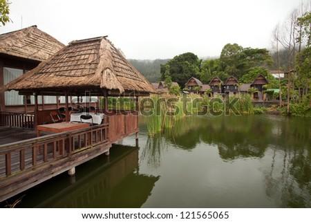 Nature resort on Lake Batur in Bali, Indonesia. - stock photo