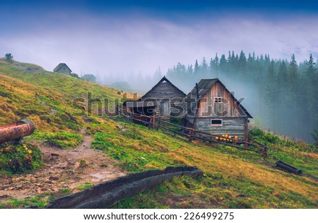 Nature rustic wooden houses in a Carpathian mountains.  - stock photo