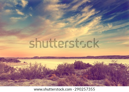 Nature scenery in retro style.Lake and vegetation in vintage effect.  - stock photo