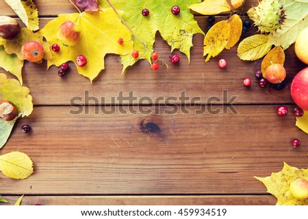 nature, season, advertisement and decor concept - frame of autumn leaves, fruits and berries on wooden table - stock photo