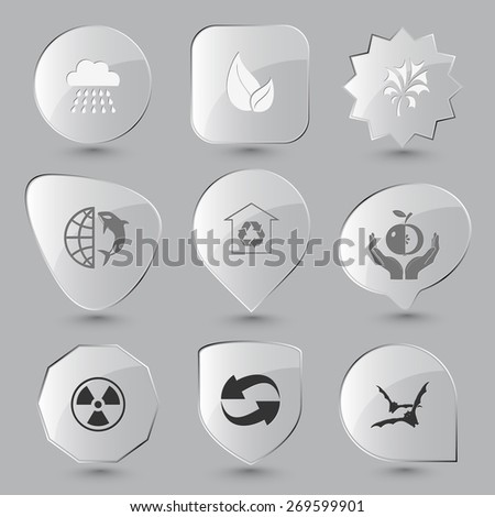 Nature set. Raster glass buttons. - stock photo