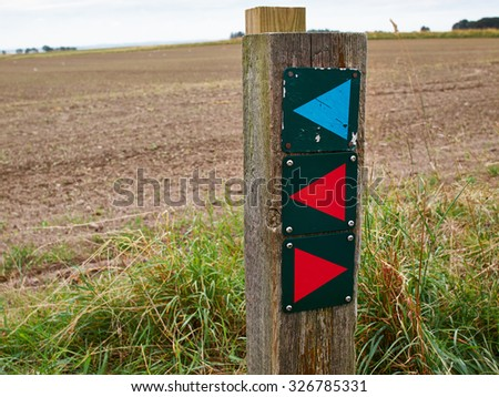Nature trails walk sign for hiking in the middle of beautiful nature  - stock photo