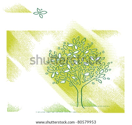 Nature - Tree motive, page layout design  (raster version) - stock photo