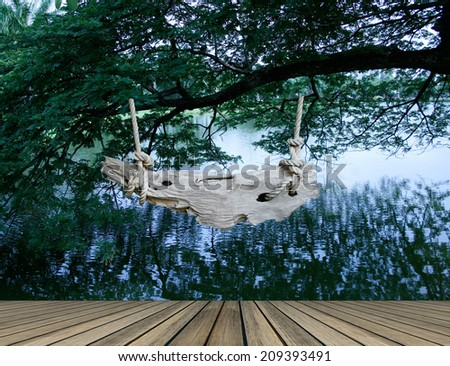 Nature tree with signboard background - stock photo