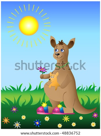 Nature vector: mum kangaroo with the baby on flower meadow