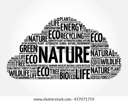 Nature word cloud, conceptual green ecology background - stock photo