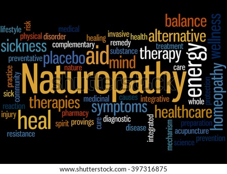 Naturopathy, word cloud concept on black background.