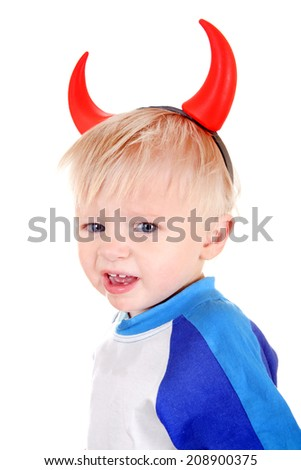 Naughty Baby Boy with Devil Horns on the Head Isolated on the White Background - stock photo