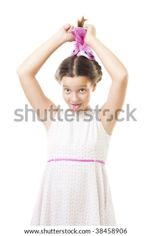 Naughty girl in pink tease and stick her tongue,isolated on white - stock photo