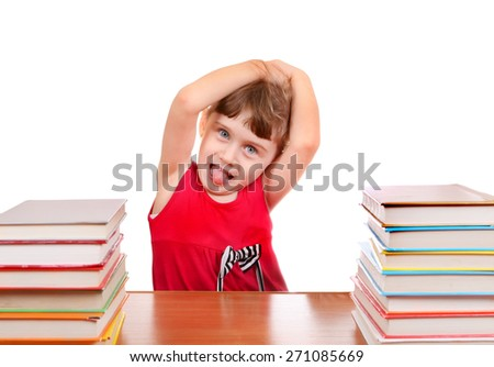 Naughty Little Girl with the Book at the Desk on the White Background - stock photo
