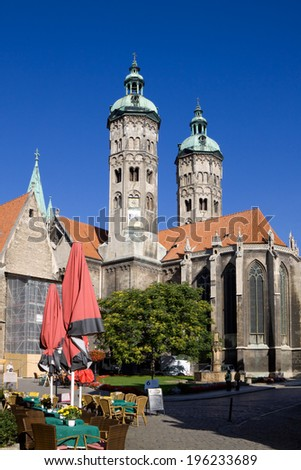 NAUMBURG, GERMANY - SEPTEMBER 07, 2010: St. Peter and Paul Cathedral in Naumburg city, Saxony-Anhalt. The Naumburger Cathedral of St. Peter and St. Paul is the main architectural landmark of the city.