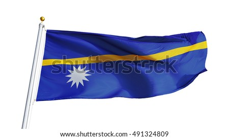Nauru flag waving on white background, close up, isolated with clipping path mask alpha channel transparency