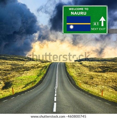 Nauru road sign against clear blue sky
