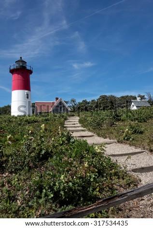 Nauset Beach Light in Eastham, Massachusetts (Cape Cod) - stock photo