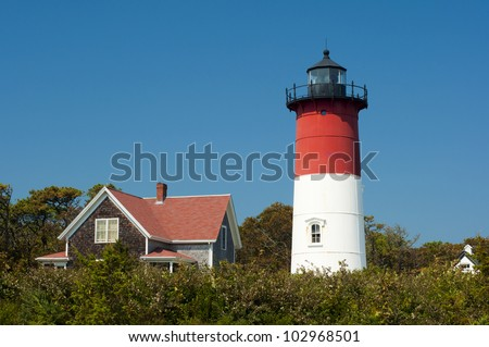 Nauset Light Lighthouse in Eastham, Cape Cod, Maine, New England, USA, Nauset Light Leuchtturm in Eastham, Cape Cod, Maine, Neu England, USA - stock photo