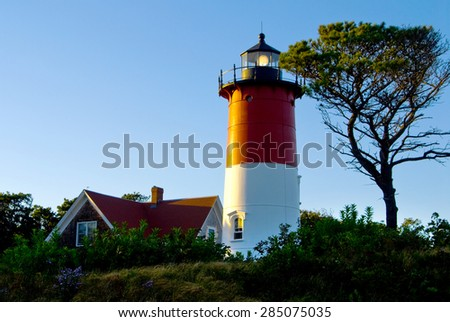 Nauset Lighthouse at dusk, Cape Cod National Seashore, Massachusetts. - stock photo
