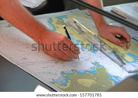 Nautical charts - stock photo