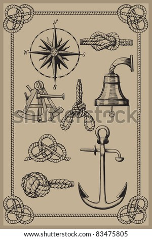 Nautical elements on vintage background. drawing woodcut method. Raster version