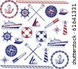 Nautical icons in a one-color and two-color sets. - stock vector