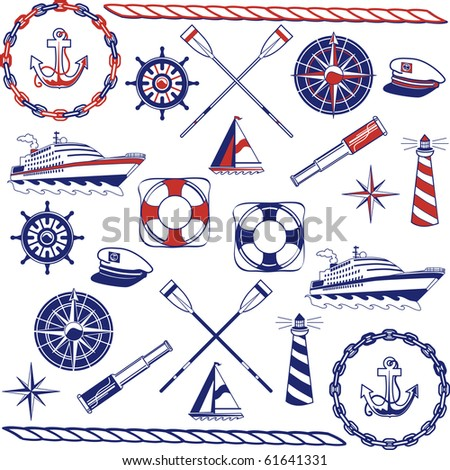 Nautical icons in a one-color and two-color sets. - stock photo