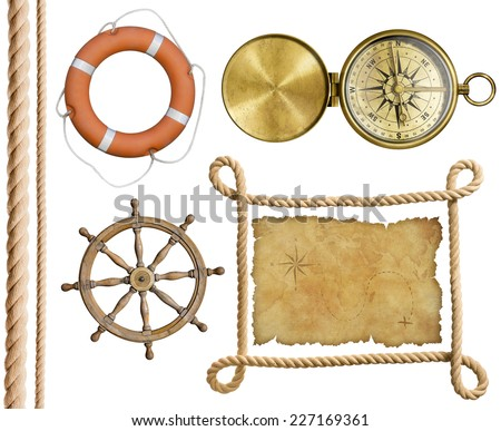 nautical objects rope, treasure map, lifebuoy, compass, wheel isolated - stock photo