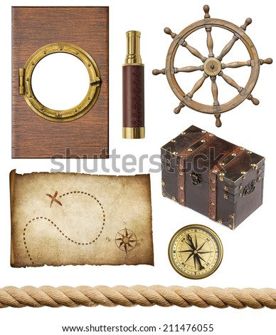 nautical objects set isolated: ship window or porthole, old treasure map, spyglass, brass compass, pirates chest, rope and steering wheel - stock photo