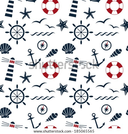 nautical seamless pattern on the white background raster version - stock photo
