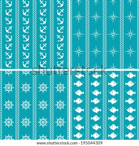 Nautical seamless patterns. Sea theme. Raster illustration. - stock photo
