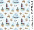 Nautical watercolor seamless pattern - stock vector