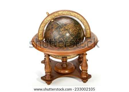 nautical world globe on table top wooden stand - stock photo