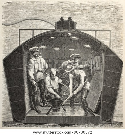 Nautilus submarine interior old illustration. Created by Feyen, published on L'Illustration, Journal Universel, Paris, 1858 - stock photo