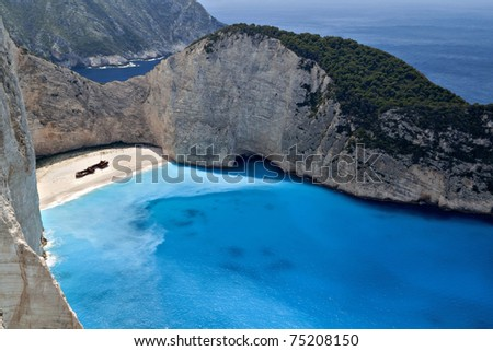 Navagio beach at Zakynthos island in Greece. Aerial view